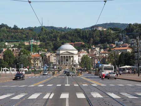 TURIN, ITALY - CIRCA AUGUST 2017: Piazza Vittorio Emanuele II square with Gran Madre church