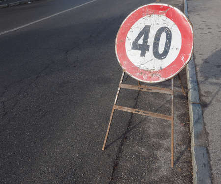 Regulatory signs, maximum speed limit 40 mph traffic sign with copy space