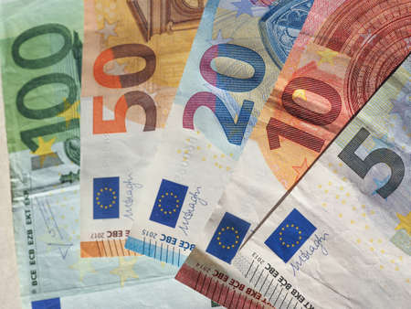 Euro banknotes money (EUR), currency of European Union, full range including five, ten, twenty, fifty and one hundred euros Reklamní fotografie
