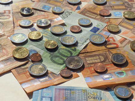Euro banknotes and coins (EUR), currency of European Union Reklamní fotografie