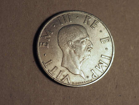 Old Italian 2 Lire coin with Vittorio Emanuele III King and Imperator, circa 1939