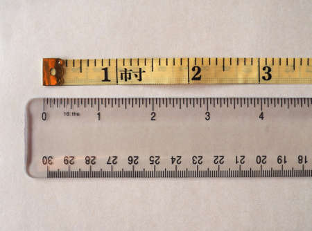 Tailor tape ruler in Cun aka the Chinese Inch measuring unit compared with Imperial (British) inch and metric system Foto de archivo