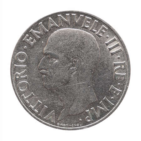 Old Italian 1 Lira coin with Victor Emmanuel III King and Emperor (Vittorio Emanuele III Re e Imperatore in Italian), circa 1940 isolated over white background