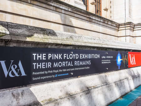 LONDON, UK - CIRCA JUNE 2017: Entrance to the Pink Floyd exhibition called Their Mortal Remains at the Victoria and Albert museum, high dynamic range Redakční