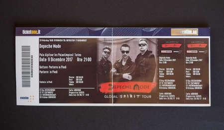 TURIN, ITALY - CIRCA DECEMBER 2017: Depeche Mode Global Spirit tour concert ticket