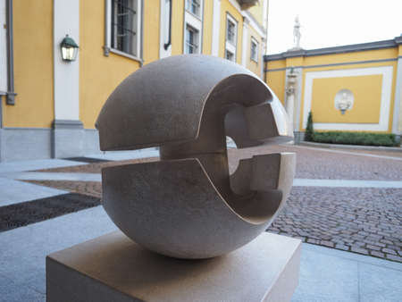 TURIN, ITALY - CIRCA AUGUST 2017: Stone sculpture entitled Guscio (meaning Shell) by artist Gio Pomodoro outside Accorsi Ometto museum Editorial