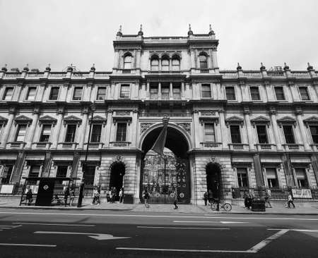 LONDON, UK - CIRCA JUNE 2017: Burlington House hosting the Royal Academy as well as Geological, Linnean, Royal Astronomical Society, Society of Antiquaries, Royal Society of Chemistry in black and white