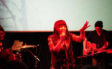 TURIN, ITALY - NOVEMBER 26, 2017: Lydia Lunch and Cypress Grove concert at Blah Blah Banco de Imagens - 93419438