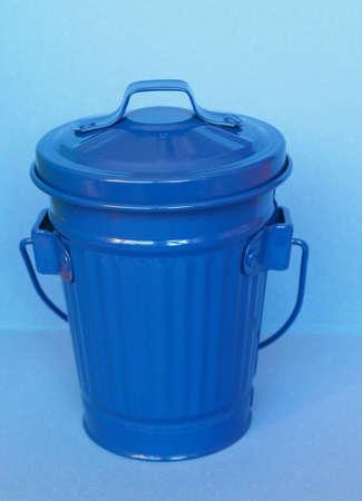 blue litter bin aka garbage or trash bin or waste bin