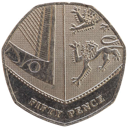 50 pence coin money (GBP), currency of United Kingdom isolated over white background 스톡 콘텐츠