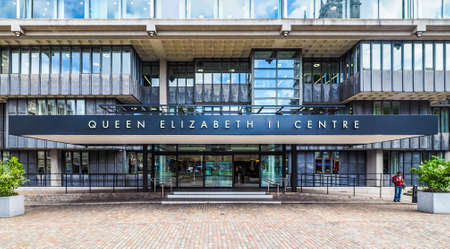 LONDON, UK - CIRCA JUNE 2017: Queen Elizabeth II conference centre designed architects Powell and Moya (high dynamic range)
