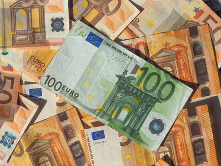 Fifty and One Hundred Euro banknotes money (EUR), currency of European Union