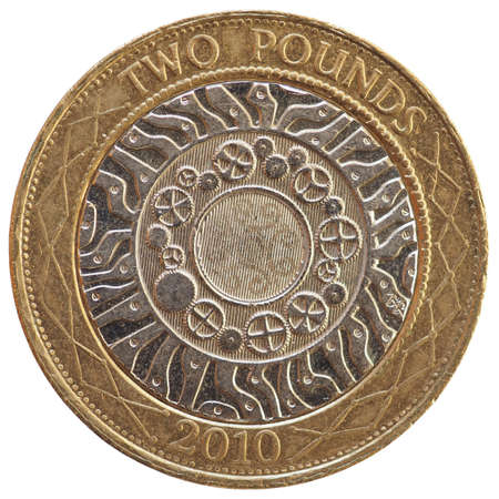 2 pounds coin money (GBP), currency of United Kingdom isolated over white background