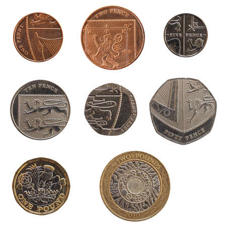 Full range of British coins money (GBP), currency of United Kingdom, from 1 Penny to 2 Pounds isolated over white background