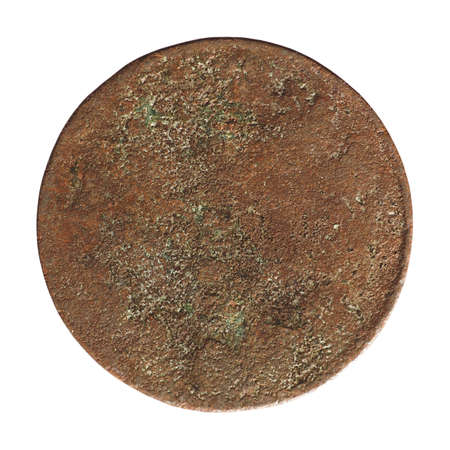 Very ancient rusted weathered coin, completely illegible isolated over white background Stock Photo - 92580809