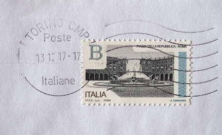 TURIN, ITALY - CIRCA DECEMBER 2017: a class B stamp printed by Italy showing Piazza della Repubblica square in Rome
