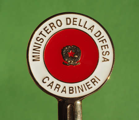 MILAN, ITALY - CIRCA DECEMBER 2017: Signalling disc of Italian paramilitary corps Carabinieri. Ministero della Difesa means Ministry of Defence. Editorial