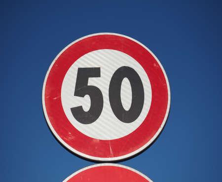 Regulatory signs, maximum speed limit 50 traffic sign