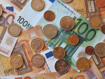 Euro banknotes and coins (EUR), currency of European Union 스톡 콘텐츠