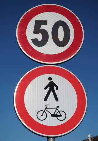 Regulatory signs, maximum speed limit 50 traffic sign, no pedestrians and bikes