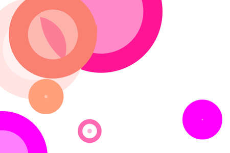Abstract minimalist grey pink illustration with circles useful as a background