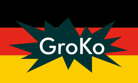 GroKo, short for Grosse Koalition in German (meaning Grand Coalition), with flag