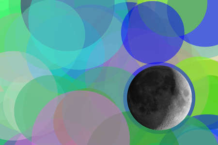 Full moon seen with an astronomical telescope over abstract blue and green circles background illustration with copy space Stock Photo