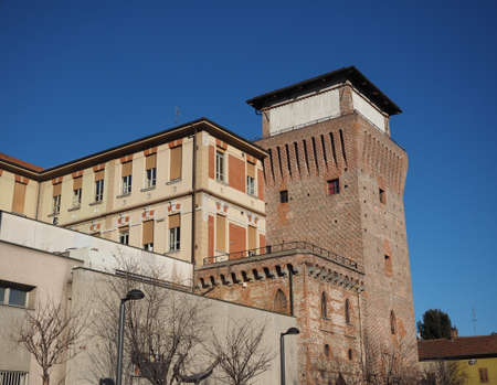 SETTIMO TORINESE, ITALY - CIRCA JANUARY 2018: City hall and medieval tower