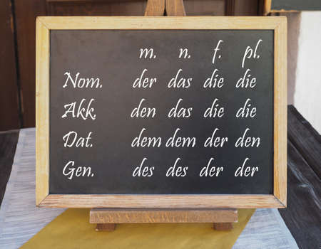 Learning German: the Definite Article in every case (nominative, accusative, dative, genitive) and genre (masculine, neuter, feminine) and plural written on a blackboard. They all mean The in English.