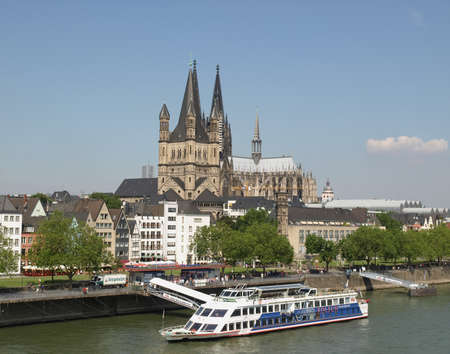 KOELN, GERMANY - CIRCA AUGUST 2009: View of the city from river Rhine, with the cathedral