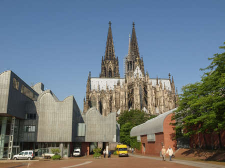 KOELN, GERMANY - CIRCA AUGUST 2009: View of the Roman German Museum (Roemisch Germanisches Museum) and the cathedral Editorial