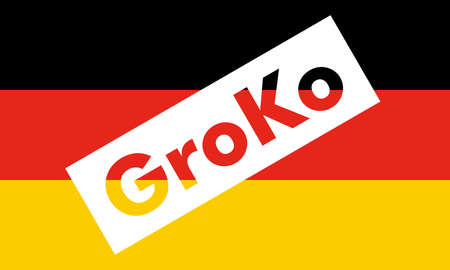 Groko (short for Grosse Koalition, meaning Grand Coalition) superimposed to the German Flag