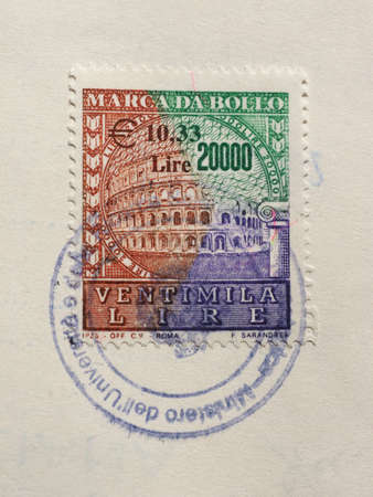 ROME, ITALY - CIRCA FEBRUARY 2018: vintage italian tax duty revenue stamp