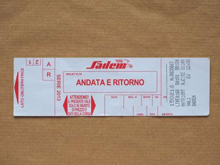 TURIN, ITALY - CIRCA MARCH 2018: Italian Sadem airpost shuttle bus ticket. Andata e ritorno means return ticket. Editorial