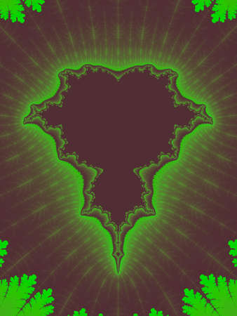 Green abstract fractal illustration useful as a background vintage retro colours