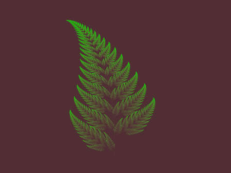 Green Barnsley set fern abstract fractal illustration useful as a background vintage retro colours 스톡 콘텐츠