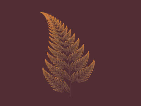 Orange Barnsley set fern abstract fractal illustration useful as a background vintage retro colours