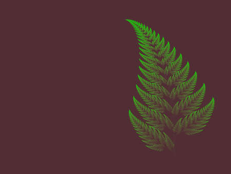 Colour Barnsley set fern abstract fractal illustration useful as a background vintage retro colours
