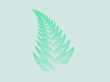 Spring green Barnsley set fern abstract fractal illustration useful as a background vintage retro colours