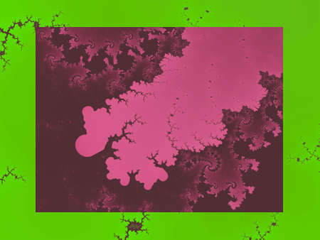 Green and Pink Mandelbrot set abstract fractal illustration useful as a background vintage retro colours