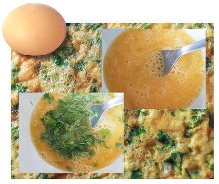 Making an omelette infographic, raw ingredients on top, beat eggs, add parsley, finished product on the background Stock Photo