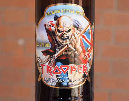LONDON, UK - CIRCA APRIL 2018: Bottle of Trooper Premium British Beer created by Iron Maiden, hand crafted by Robinsons