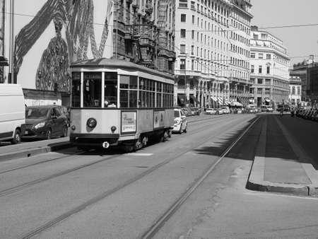 MILAN, ITALY - CIRCA APRIL 2018: Vintage historical tramway train in black and white Publikacyjne