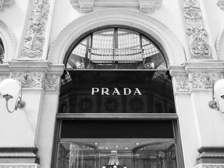 MILAN, ITALY - CIRCA APRIL 2018: Prada store in the Galleria Vittorio Emanuele II in black and white