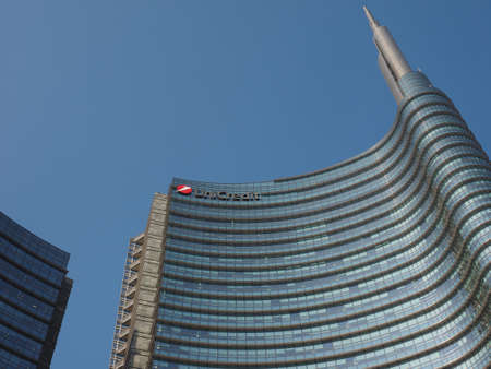 MILAN, ITALY - CIRCA APRIL 2018: Torre UniCredit (meaning UniCredit Tower) bank headquarters designed by architect Cesar Pelli Editorial
