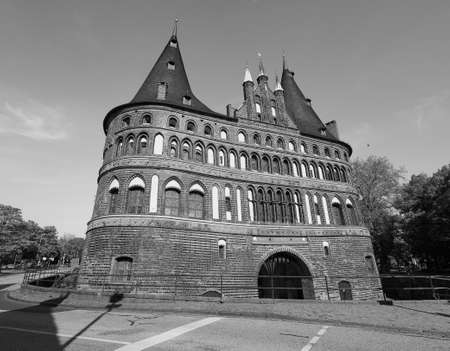 Holstentor (previously Holstein Tor, meaning Holsten Gate) in Luebeck, Germany in black and white 報道画像