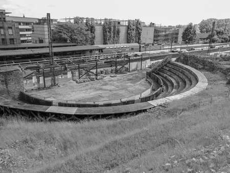 Ruins of the Roemisches Theater roman theatre in Mainz Germany in black and white