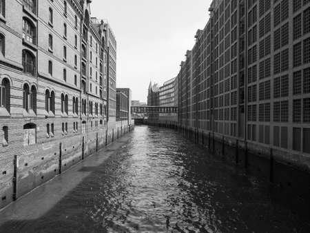 HafenCity quarter in the district of Hamburg Mitte on the Elbe river island Grasbrook on former Hamburger Hafen (Port of Hamburg) in Hamburg, Germany in black and white