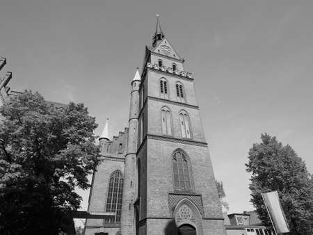 Propsteikirche Herz Jesu (Church of the Sacred Heart of Jesus) in Luebeck, Germany in black and white