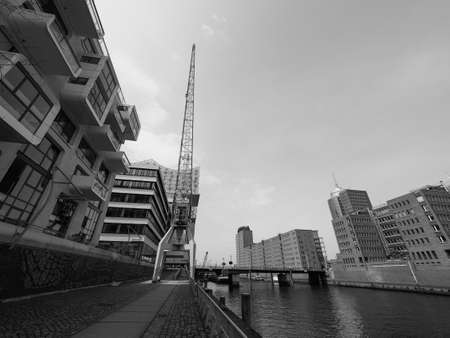 HAMBURG, GERMANY - CIRCA MAY 2017: HafenCity quarter in the district of Hamburg Mitte on the Elbe river island Grasbrook on former Hamburger Hafen (Port of Hamburg) in black and white Redakční